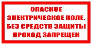 Опасное электрическое поле. Без средств защиты проход запрещен.