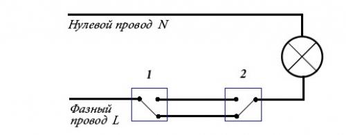 схема подключения одноклавишного проходного выключателя
