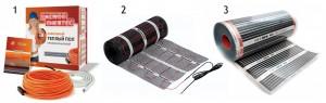 Виды электрических теплых полов: 1 — Кабельный; 2 — Кабельный с армирующей сеткой; 3 — Пленочный (инфракрасный).