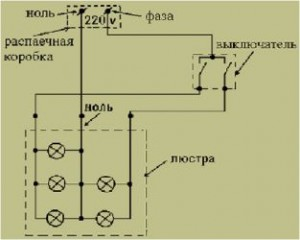 схема подключения люстры с двухклавишным выключателем