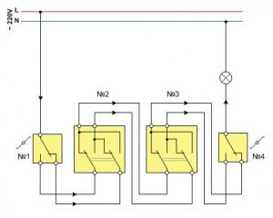 схема управления из четырех и более мест